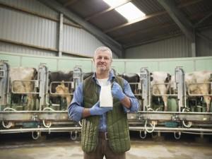 Farmer holding milk in milking parlor